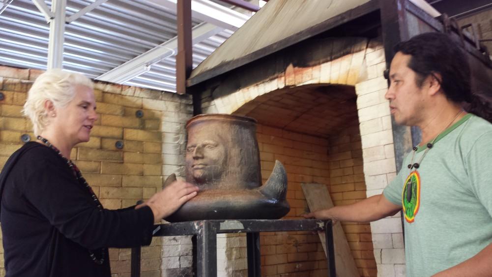Rowe talks to Minaya near kilns