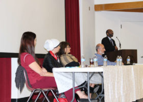 Panel member speaks about the facts of Islam at Saddleback College. The presentation is in high hopes of changing campus culture to be more accepting of Muslim culture. (Lariat/ Austin Weatherman)